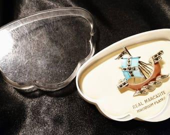 Vintage 20's marcasite ship brooch, enamelled boat, gift for mother, boxed