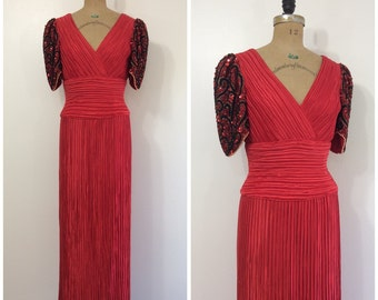 1980s George F. Couture Red Fortuny Gown 80s Maxi Party Dress