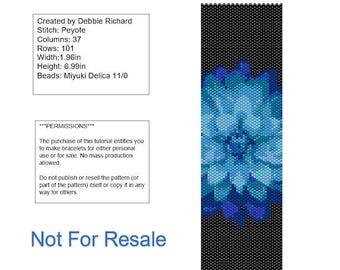 Blue Flower Peyote Bracelet