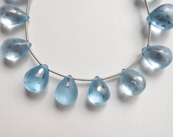 Designer Frosted Sky Blue Topaz Polka Dot Smooth Teardrop Briolettes K3727