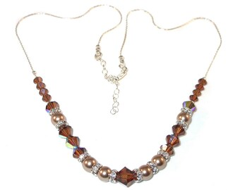 SMOKED TOPAZ Crystal BRONZE Pearl Necklace Sterling Silver Swarovski Elements