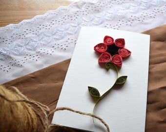 Handmade Red Quilled Flower Card - Blank Inside - for any occassion