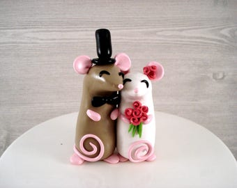 Mouse Cake Topper Wedding Cake Topper Bride and Groom Anniversary Keepsake Wedding Cake Mr and Mrs Wedding Keepsake