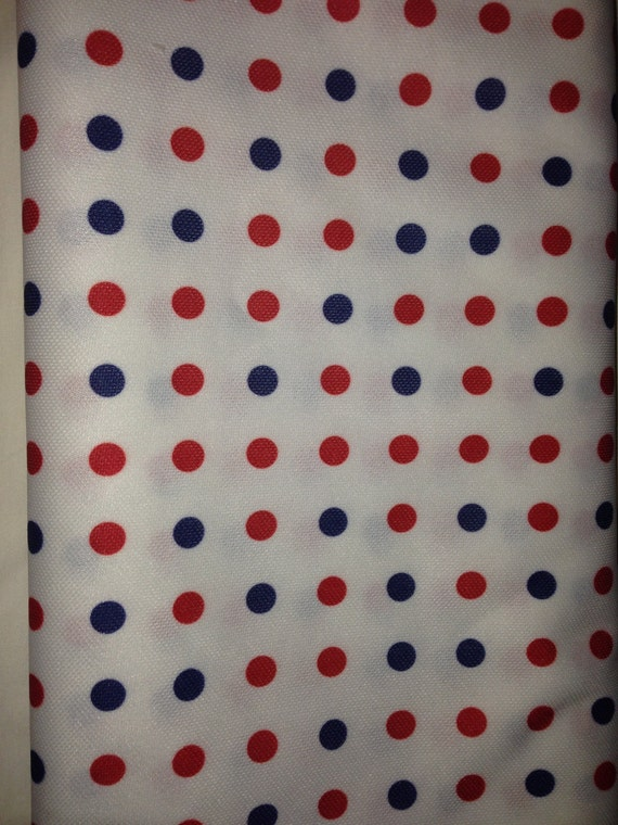 Red White and Blue Vintage Polka Dot Fabric F2