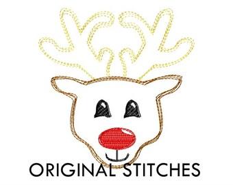 Quick Stitch Christmas Rudolf Reindeer Embroidery Digital Design File 4x4 5x7 6x10 7x11
