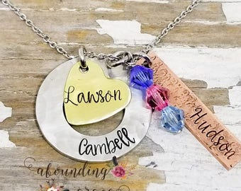 Name necklace, grandma necklace, mom necklace, mixed metal, birthstone jewelry, personalized name necklace, custom, hand stamped, kids names