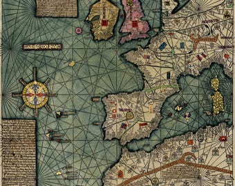 Cresques Catalan Atlas; World Map; 1387; Antique Map; Plate 1 of 3