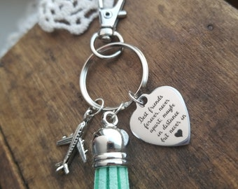 Gift for a long distance friend, long distance friendship, going away gift for best friend, best friends keychain, friendship key chains