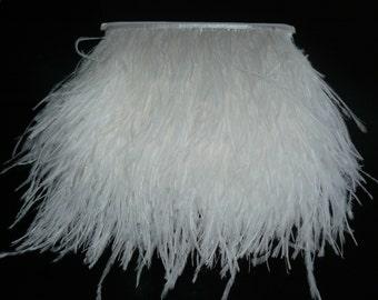 10 yards Ostrich Feather Fringe trim 10-15 cm (4-6 inch), white