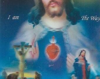 Hologram religious Sacred Heart 8.3 cm x 5.3 cm