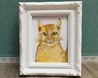 handmade watercolor ginger cat