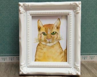 handmade watercolor ginger cat