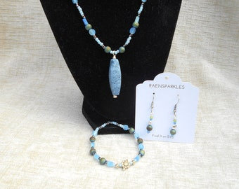 Blue Druzy Necklace Set