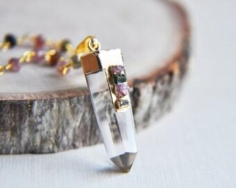 Quartz Necklace, Gold Quartz Necklace, Quartz Point, Rainbow Tourmaline, Tourmaline Necklace, Tourmaline, Tourmaline Jewelry, Stone Necklace