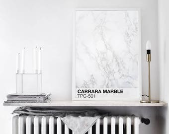 CARRARA MARBLE PRINTABLE | White and Grey Marble Printable Poster | Pantone Color wall art | Modern Art Print Marble Pantone Poster minimal