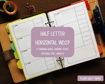 PRINTABLE Weekly Planner Insert, Half Letter Horizontal Week on 2 Pages with 3 Tracking Boxes Monday Start