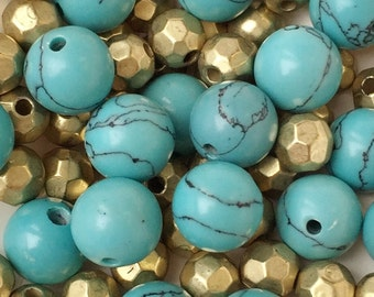 eco friendly gold tone multi facetted roundell and round ball faux turquoise howlite acrylic beads---lot of 65