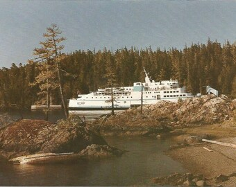 Vintage 1990s Postcard Port Hardy British Columbia BC Canada Queen of Prince Rupert Ferry Ship Pacific Coast Photochrome Postally Unused