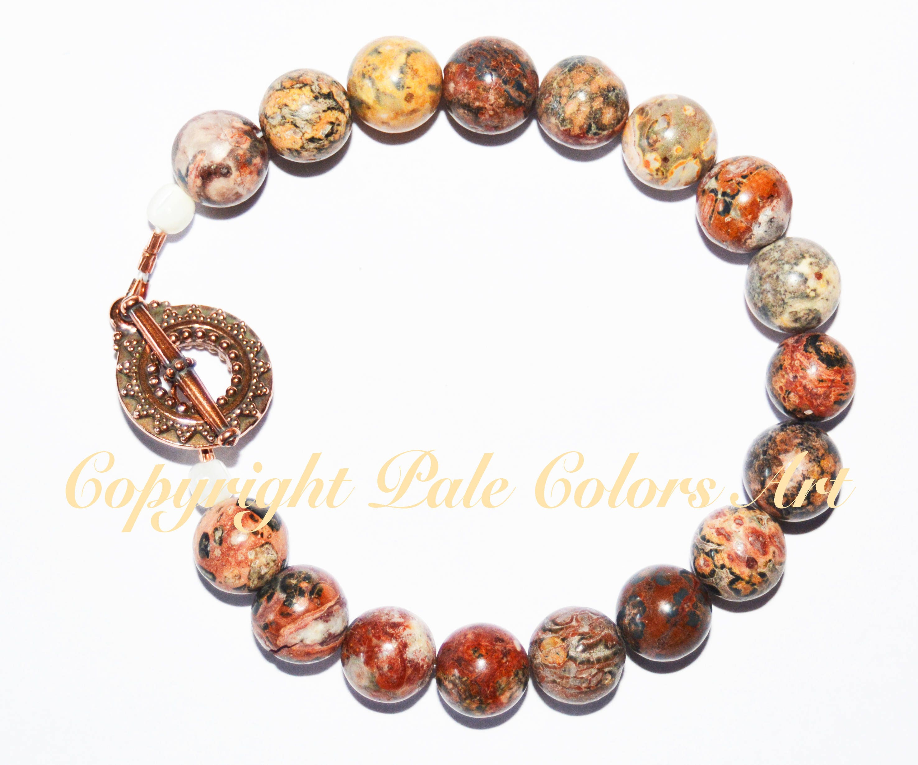 beaded lace stone bracelet agate orange red pin bead