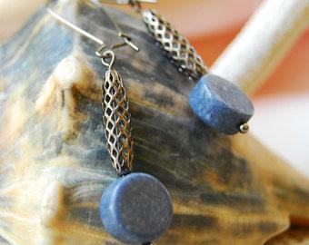Denim Blue Coral Earrings, Cowgirl Gunmetal Earrings, Blue Earrings, Steel Gray and Denim Blue Earrings, JewelryFineAndDandy, SRAJD