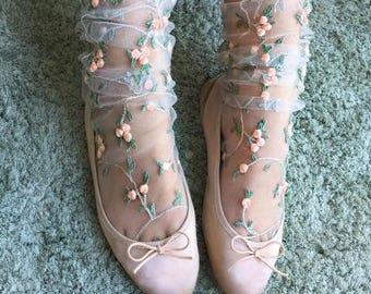 Floral Tulle Socks