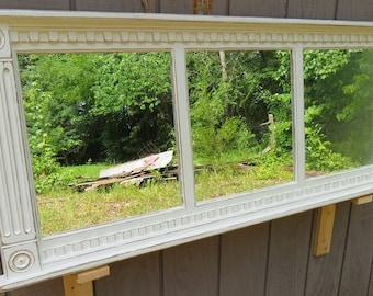 French Country  Cottage mirror - distressed mirror frame - window sash - shabby chic mirror - vanity - windowpane