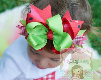 Girls Watermelon Headband - Watermelon Hair Bow - Watermelon Hair Clip - Pink , Red ,And Green Watermelon,