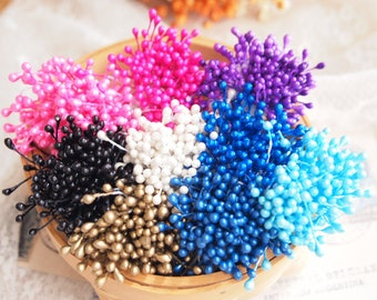 180pcs (9 colors) Flower Stamens, dobule head, mix colors