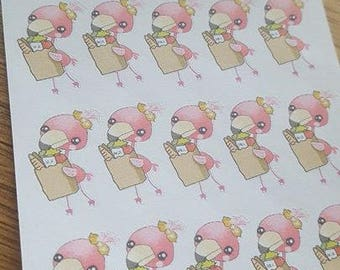 Flamingo Grocery Shopping Planner Stickers. HP EC