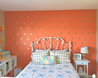 Gold Polka Dots Wall Decal, Gold Polka Dot Decal, Metallic Gold Polka Dot Vinyl Wall Art, Gold Vinyl Wall Decals, Gold Wall Sticker