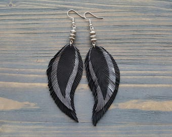 Boho Chic Earrings Leather Feather Earrings 3rd Anniversary Gift For Her Boho Silver Jewelry Leather Anniversary Large Bohemian Earrings.