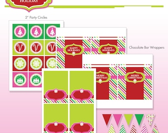 Christmas Holiday Party Printables - DIY Printable Package - Sugar Coated Holiday Mini Party - Do-it-Yourself Print Kit - Instant Download
