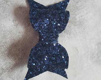 Small navy blue glitter hair bow clip