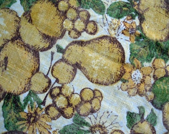 Fifties Vintage Linen Tablecloth Fruit, Linen Tablecloth, Yellow and Gold Fruits, Rustic Home, Country Decor, by mailordervinage on etsy