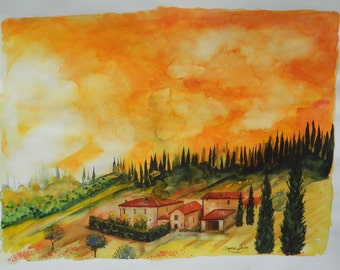 "Super-LARGE Italian Landscape ART Painting Original Watercolor Landscape ""TUSCANY"" Italy"