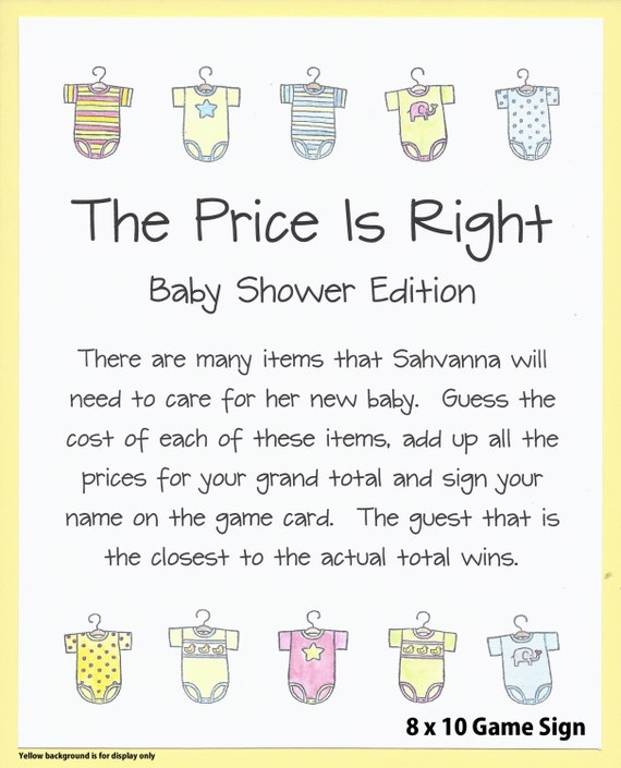 The Price Is Right Baby Shower Game Australia Baby Shower Games Boy
