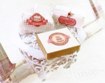 Miniature cake / Set miniature pastry / Miniature bakery / Doll's House miniatures / Dollhouse