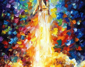 """Space Wall Art Shuttle Oil Painting On Canvas By Leonid Afremov. Size: 24"""" X 40"""" Inches (60 cm x 100 cm)"""