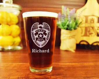 Police Gifts, Police Officer Beer Glass, Badge Tag, Personalized Pint Glass, Custom Beer Mug, Gifts for Law Enforcement, Sheriff