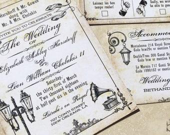 New Orleans wedding invitations. Mardi Gras wedding invitations. Vintage new orleans themed wedding invitations