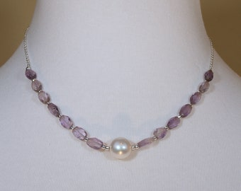 Amethyst, Freshwater Pearl and Sterling Silver Necklace and Earring Set