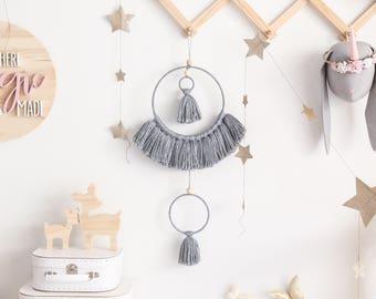 Grey dream catcher, boho wall hanging, tassel mobile, boho mobile, modern wall hanging, large dream catcher, tassel wall hanging, tassels