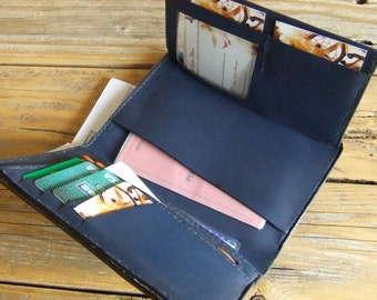 Leather wallet, Brown and blue
