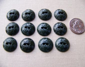 Set of 12 Vintage Plastic Mounded Dark Green Buttons Basketweave Design