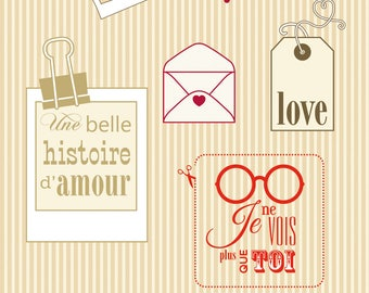 SET OF 6 STAMPS A BEAUTIFUL LOVE STORY LOVE THROUGH MY THOUGHTS I SEE YOU SCRAPBOOKING
