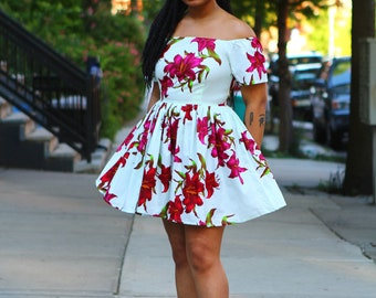 TERRY - Off the Shoulder Floral African Fabric Mini Dress