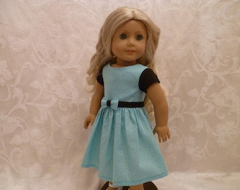 18 Inch Doll  Spring Dress Hand Made, Teal & Black Polka Dot Dress fits American Girl dolls