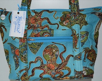 Quilted Fabric Handbag Purse with Beautiful Sea Creatures Octopus Crab Shark Dolphin Whale Turtle etc.
