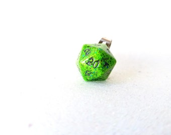 Individually cast clear resin D20 dice ring with slime green glitter