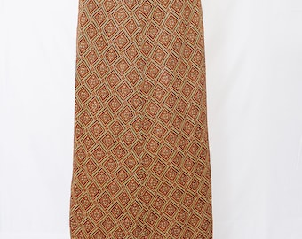 Stunning Long  Orange and Brown Skirt with Gold Metallic through out.